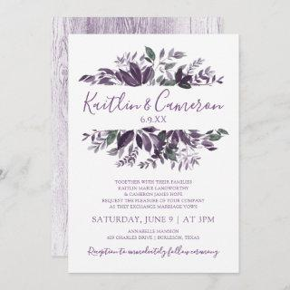 Greenery Wedding Invitations - Dusty Purple