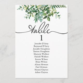 Greenery wedding table plan with modern font invitation