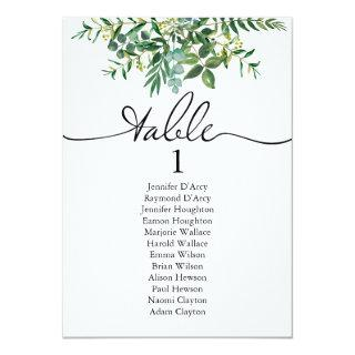 Greenery wedding table plan with modern font Invitations