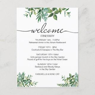 Greenery wedding weekend Itinerary welcome card. Enclosure Card