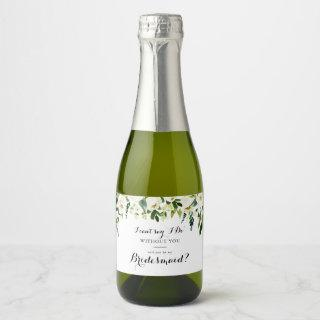 Greenery White Autumn Floral Bridesmaid Proposal Champagne Label