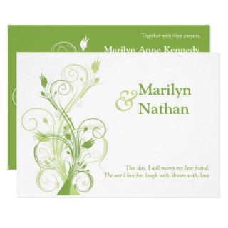 Greenery, White Floral Wedding Invitations