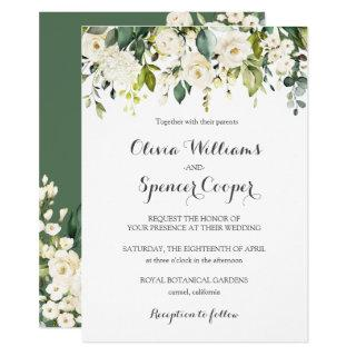 Greenery White Rose Floral Flowers Leaves Wedding Invitations