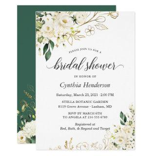 Greenery White Rose Floral Gold Bridal Shower Invitations