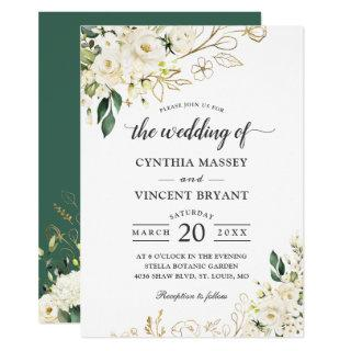 Greenery White Rose Floral Gold Leaves Wedding Invitations