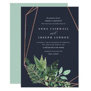 Greenhouse Geometric Watercolor Botanical Wedding Invitation