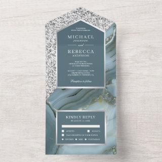 Grey and Silver Glitter Slate Blue Marble Wedding All In One