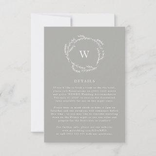 Grey and White Simple Wreath Wedding details Card