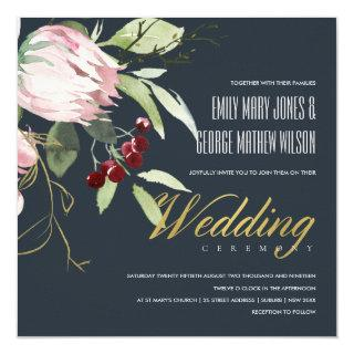GREY BLACK BLUSH BURGUNDY PROTEA FLORAL WEDDING INVITATION