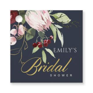 GREY BLUSH BURGUNDY PROTEA FLORAL BRIDAL SHOWER FAVOR TAGS