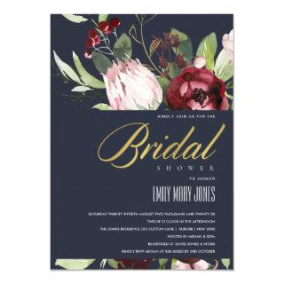 GREY BLUSH BURGUNDY PROTEA FLORAL BRIDAL SHOWER INVITATION