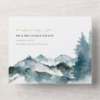 GREY BLUSH GREEN BLUE MOUNTAINS PINE WEDDING ALL IN ONE Invitations