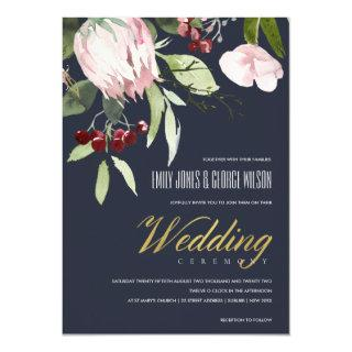 GREY BLUSH PINK BURGUNDY PROTEA FLORAL WEDDING Invitations