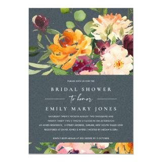 GREY BLUSH YELLOW ORANGE FLORAL BRIDAL SHOWER Invitations