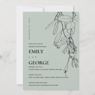 GREY LINE DRAWING FLORAL REHEARSAL DINNER  INVITE
