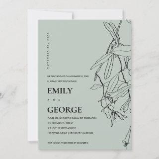 GREY LINE DRAWING FLORAL WE TIED THE KNOT INVITE