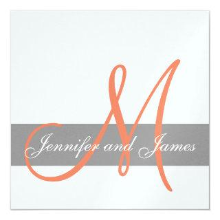 Grey Orange Wedding Invitation | Monogram Names