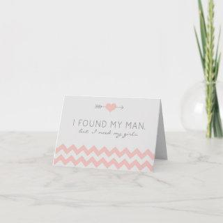 Grey & Pink Chevron Co-Maid of Honor Request Card