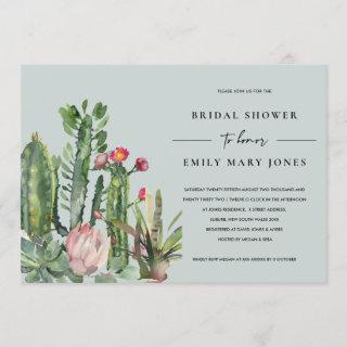 GREY PINK FLORAL DESERT CACTI FAUNA BRIDAL SHOWER Invitations