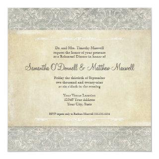 Grey Vintage French Regency Lace Weddings Invitations