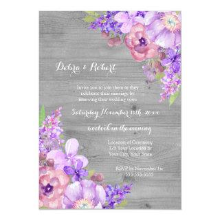 Grey Wood Lilac Purple Flowers Vow Renewal Invitation