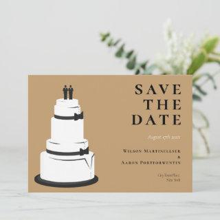 Grooms Wedding Cake Camel Brown LGBTQ Save The Date