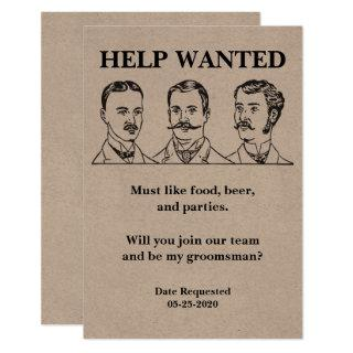 Groomsman Request Help Wanted Ad Invitation