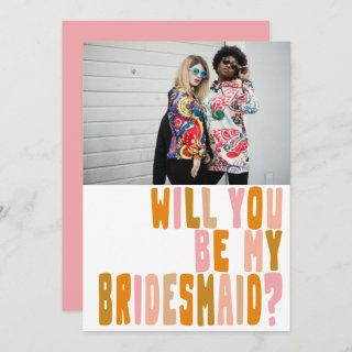 Groovy Colorful Bridesmaid Photo Proposal Card