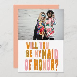Groovy Colorful Maid of Honor Photo Proposal Card