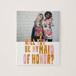 Groovy Colorful Maid of Honor Photo Proposal Card Jigsaw Puzzle