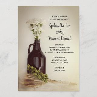 Growler, Hops and Daisies Brewery Wedding Invitations