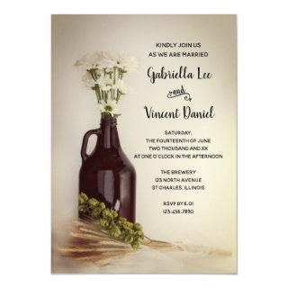 Growler, Hops and Daisies Brewery Wedding Invitation