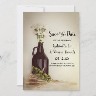 Growler Hops Daisies Brewery Wedding Save the Date