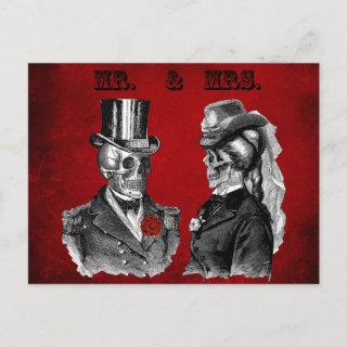 Grunge Skull Wedding & Anniversary Party Invitations Postcard