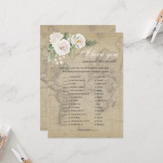 Guess the Language Travel Bridal Shower Game  Invitations