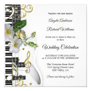 Guitar Piano Music Themed Wedding Invitations