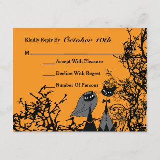 Hallowedding Cats Wedding RSVP Card