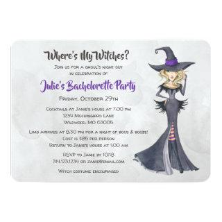Halloween Bad Witches Bachelorette Party Invitation