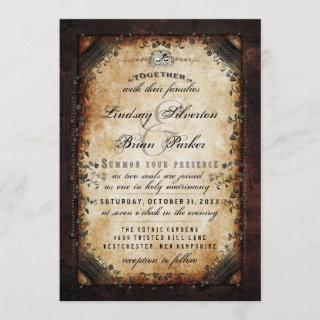 """Halloween Brown Gothic """"Together With"""" RECEPTION Invitations"""