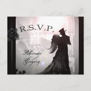 Halloween Lovers Silhouette Matching RSVP PostCard