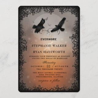 Halloween Ravens and Hearts Evermore Wedding Invitations