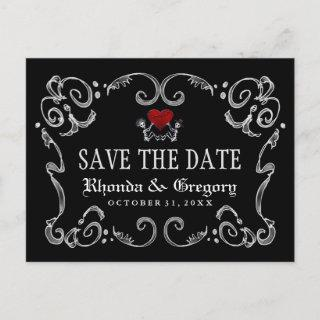 Halloween Skeletons & Heart Matching Save the Date Announcement Postcard