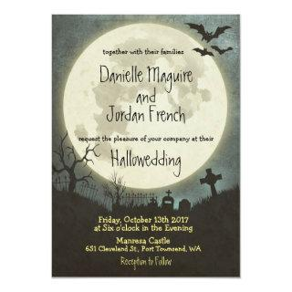 Halloween wedding Invitations with moon, cemetery