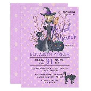 Halloween witch black cats bridal shower party invitation