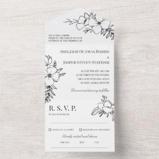 Hand Drawn Charcoal & White Flowers Wedding  All In One Invitation