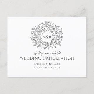 hand drawn leaf wedding cancelation dark gray announcement postcard