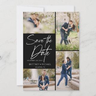 Hand Lettered Image Collage Black Save The Date