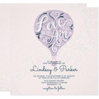Hand Lettered Love Lavender Purple Wedding Square Invitations