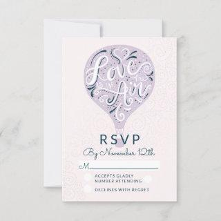 Hand Lettered Love Lavender Wedding RSVP Reply