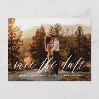 Hand Lettered Photo Rustic Save the Date Postcard